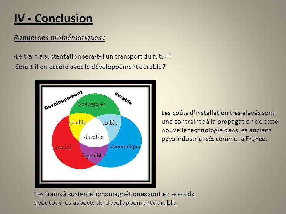 IV - Conclusion Rappel des problématiques : -Le train à sustentation sera-t-il un transport du futur? -Sera-t-il en accord avec le développement durab