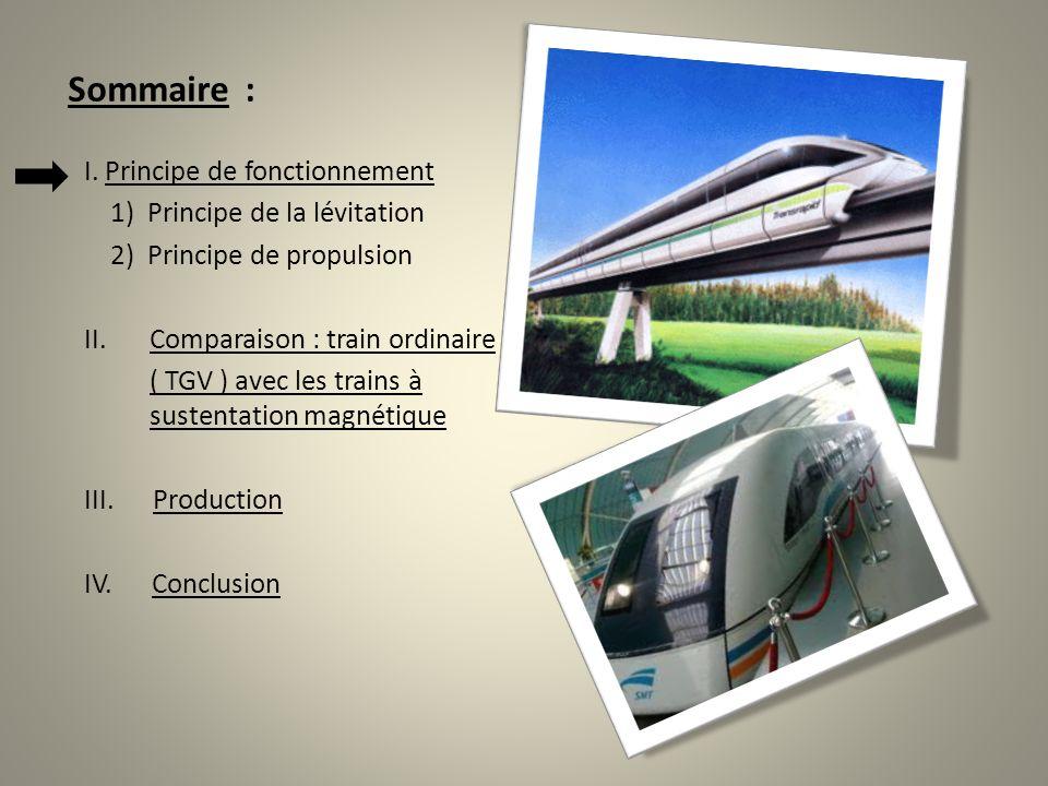 Sommaire : I. Principe de fonctionnement 1) Principe de la lévitation 2) Principe de propulsion II.Comparaison : train ordinaire ( TGV ) avec les trai