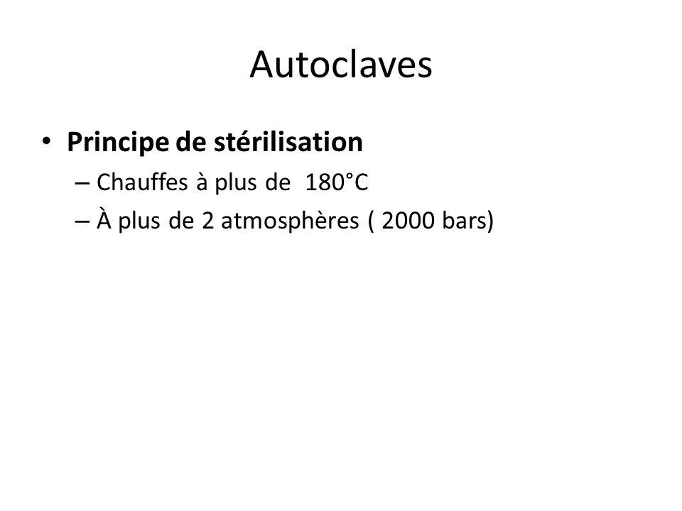 Autoclaves Principe de stérilisation Les agents stérilisants sont la vapeur d'eau saturée sous pression ou l'eau surchauffée. La chaleur associée à l'