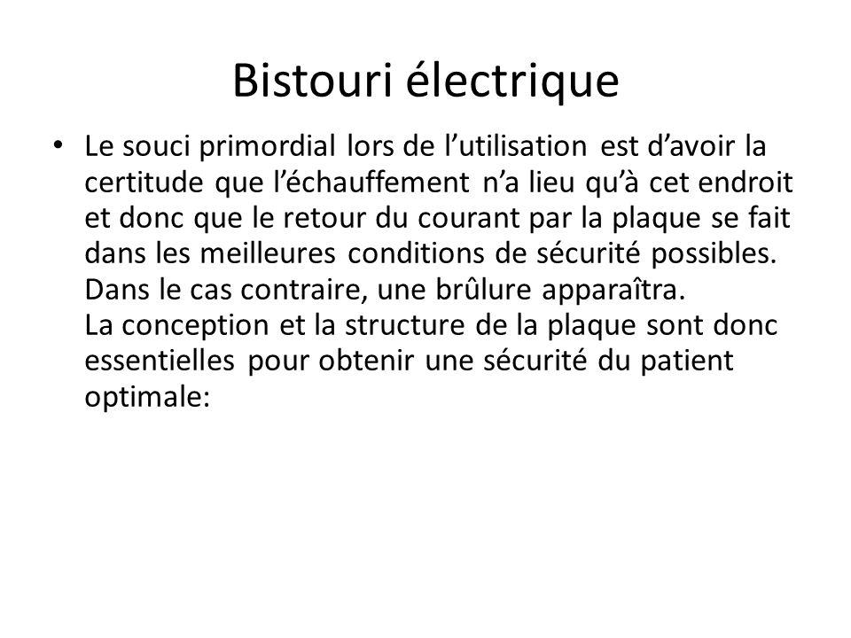 Bistouri électrique La qualité des plaques électrochirurgicales dans une intervention utilisant le bistouri électrique est essentielle. Le circuit éle