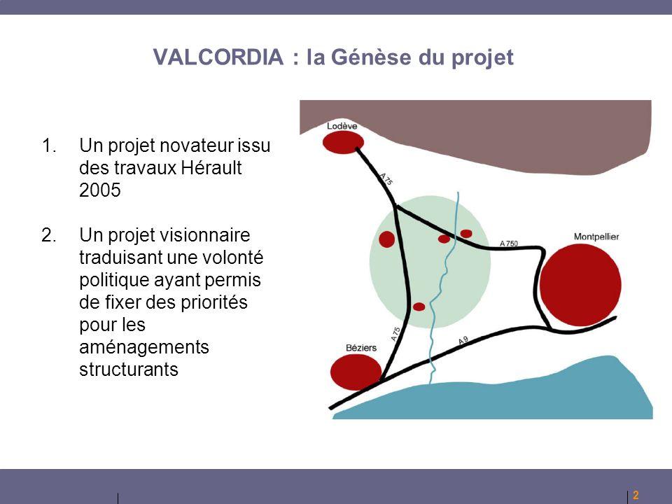 2 1.Un projet novateur issu des travaux Hérault 2005 2.Un projet visionnaire traduisant une volonté politique ayant permis de fixer des priorités pour les aménagements structurants VALCORDIA : la Génèse du projet
