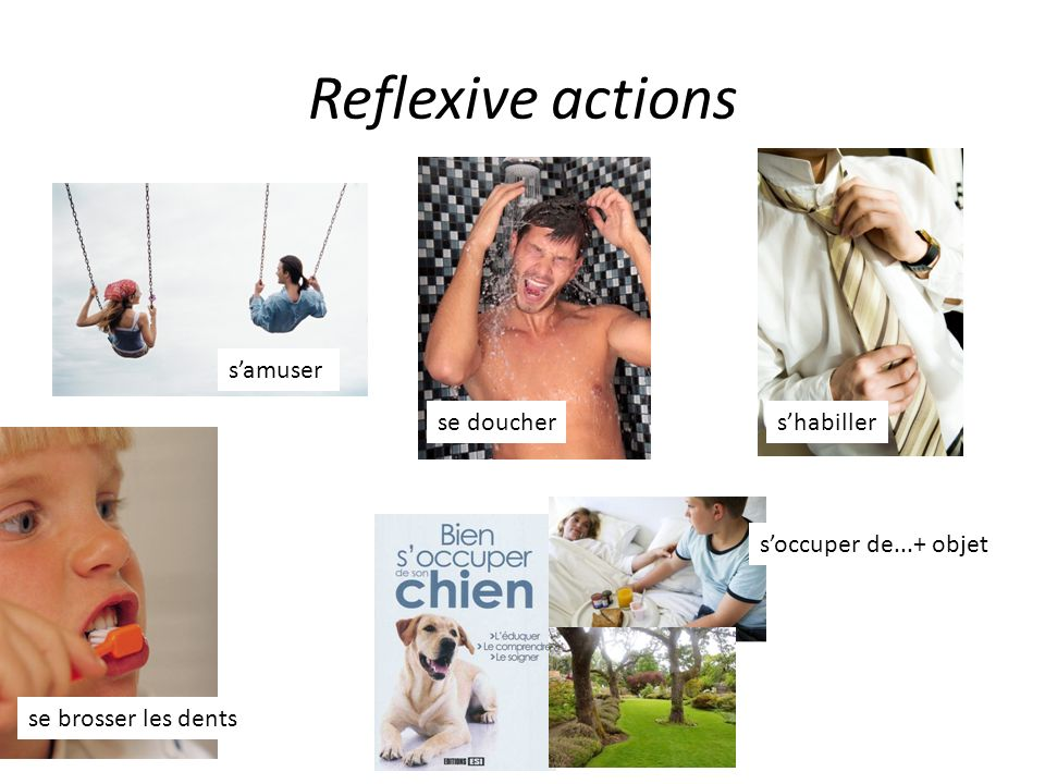 Reflexive actions samuser se douchershabiller se brosser les dents soccuper de...+ objet