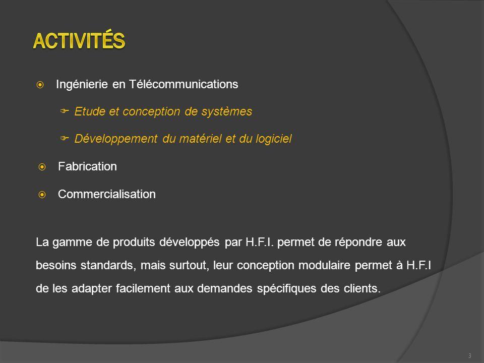 3 Ingénierie en Télécommunications Etude et conception de systèmes Développement du matériel et du logiciel Fabrication Commercialisation La gamme de