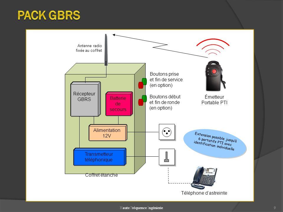 Haute Fréquence Ingénierie9 9 Transmetteur téléphonique Alimentation 12V Batterie de secours Récepteur GBRS Antenne radio fixée au coffret Coffret éta