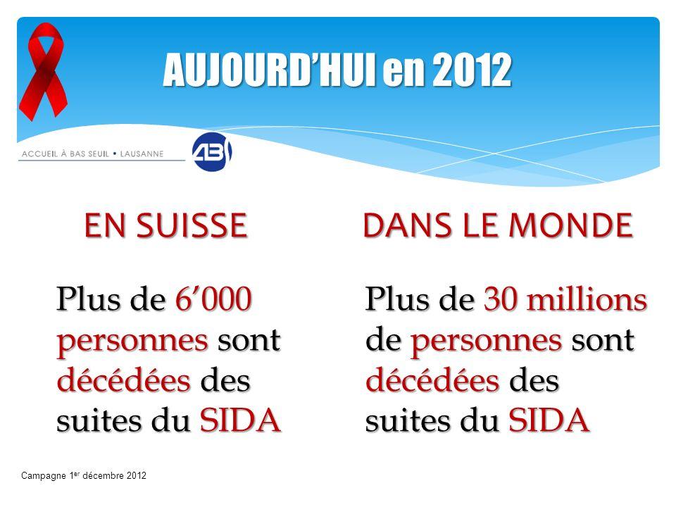 Plus de 6000 personnes sont décédées des suites du SIDA Campagne 1 er décembre 2012 AUJOURDHUI en 2012 Plus de 30 millions de personnes sont décédées