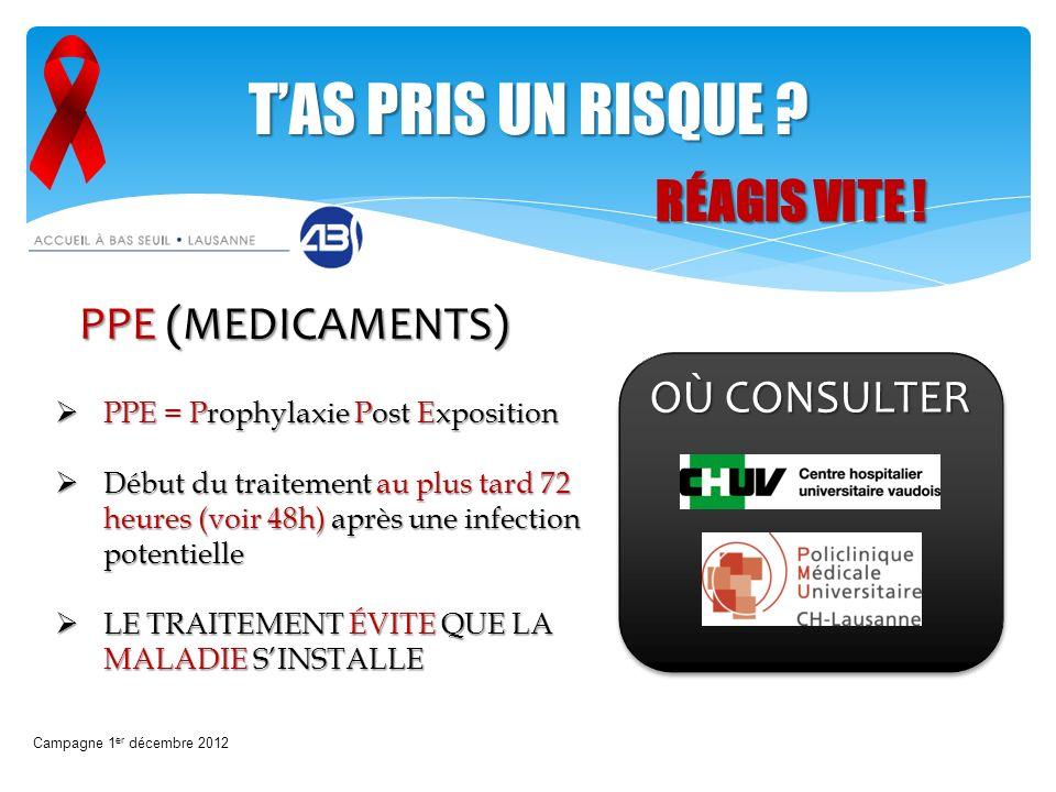 TAS PRIS UN RISQUE ? PPE (MEDICAMENTS) OÙ CONSULTER PPE = Prophylaxie Post Exposition PPE = Prophylaxie Post Exposition Début du traitement au plus ta