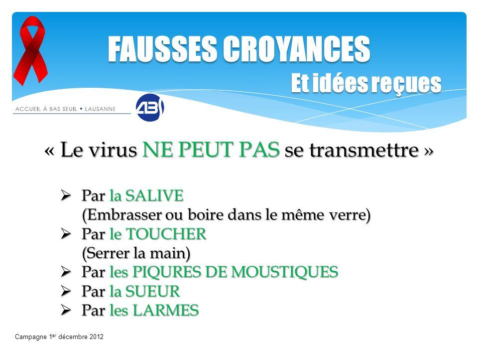 Le virus NE PEUT PAS se transmettre » « Le virus NE PEUT PAS se transmettre » Campagne 1 er décembre 2012 FAUSSES CROYANCES Par la SALIVE (Embrasser o