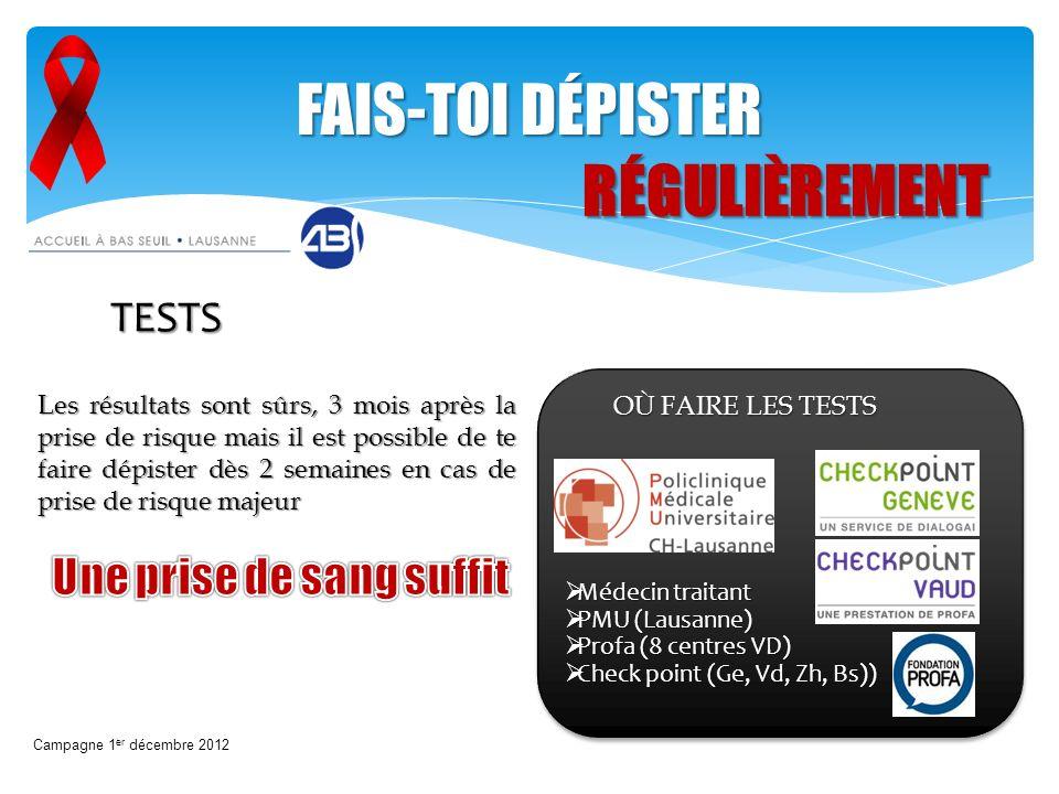 Campagne 1 er décembre 2012 FAIS-TOI DÉPISTER RÉGULIÈREMENT TESTS OÙ FAIRE LES TESTS Les résultats sont sûrs, 3 mois après la prise de risque mais il
