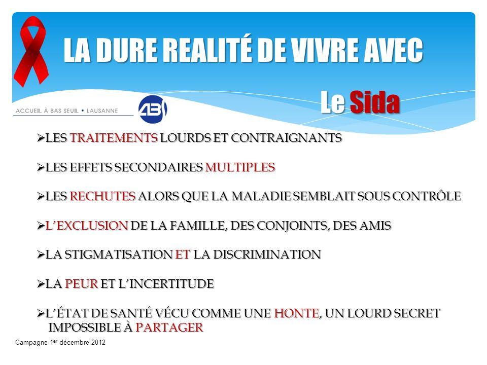 Campagne 1 er décembre 2012 LA DURE REALITÉ DE VIVRE AVEC LES TRAITEMENTS LOURDS ET CONTRAIGNANTS LES TRAITEMENTS LOURDS ET CONTRAIGNANTS LES EFFETS S