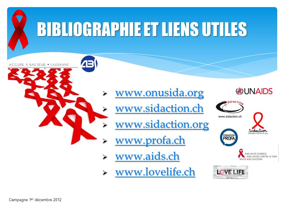 BIBLIOGRAPHIE ET LIENS UTILES www.onusida.org www.onusida.org www.onusida.org www.sidaction.ch www.sidaction.ch www.sidaction.ch www.sidaction.org www