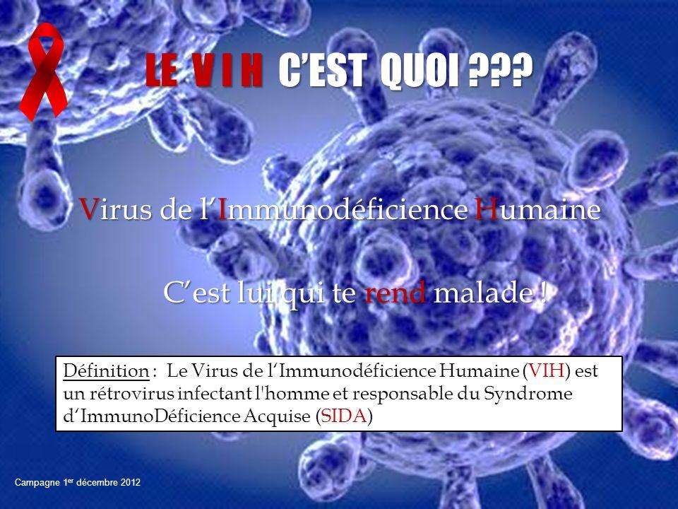 Virus de lImmunodéficience Humaine Campagne 1 er décembre 2012 LE V I H CEST QUOI ??? Cest lui qui te rend malade ! Définition : Le Virus de lImmunodé