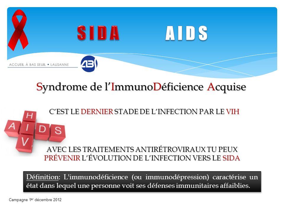 Syndrome de lImmunoDéficience Acquise Campagne 1 er décembre 2012 CEST LE DERNIER STADE DE LINFECTION PAR LE VIH AVEC LES TRAITEMENTS ANTIRÉTROVIRAUX
