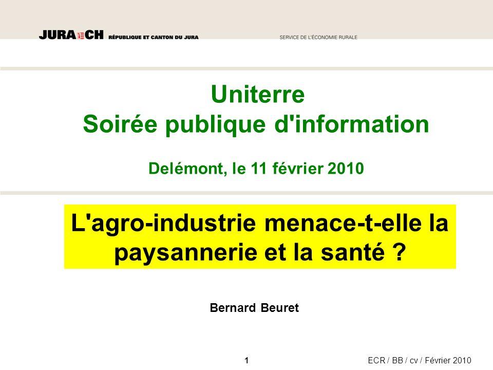 ECR / BB / cv / Février 2010 Uniterre Soirée publique d information Delémont, le 11 février 2010 L agro-industrie menace-t-elle la paysannerie et la santé .