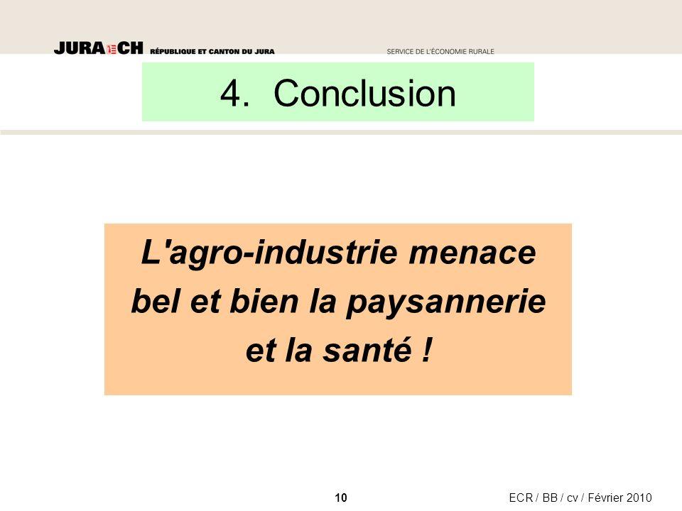 ECR / BB / cv / Février 201010 L agro-industrie menace bel et bien la paysannerie et la santé .