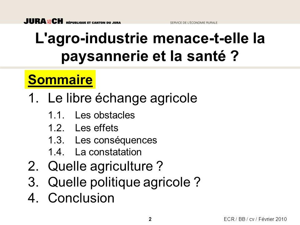 1.Le libre échange agricole 1.1.Les obstacles 1.2.Les effets 1.3.Les conséquences 1.4.La constatation 2.Quelle agriculture .
