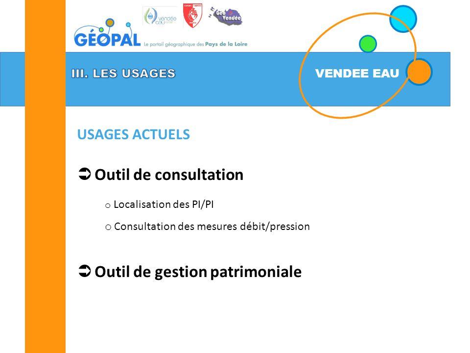 VENDEE EAU Outil de consultation o Localisation des PI/PI o Consultation des mesures débit/pression Outil de gestion patrimoniale USAGES ACTUELS