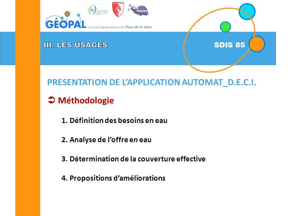 SDIS 85 Méthodologie 1.Définition des besoins en eau 2.