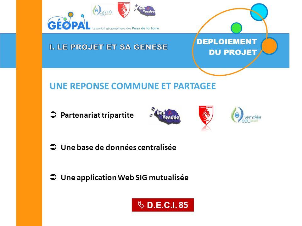 DEPLOIEMENT DU PROJET UNE REPONSE COMMUNE ET PARTAGEE Partenariat tripartite Une base de données centralisée Une application Web SIG mutualisée D.E.C.I.