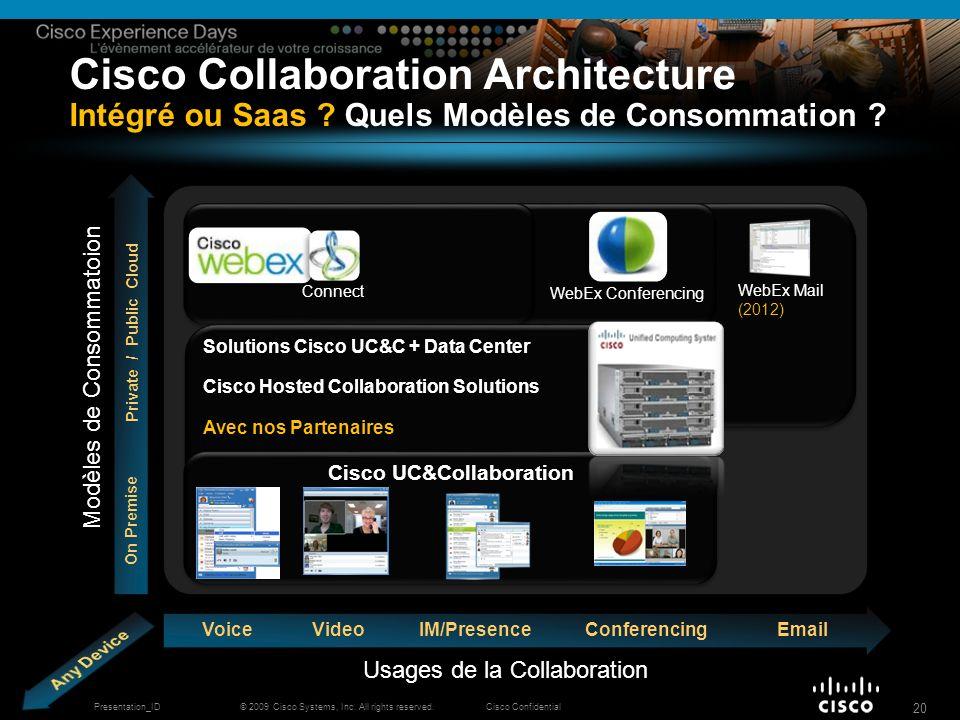 © 2009 Cisco Systems, Inc. All rights reserved.Cisco ConfidentialPresentation_ID 20 Cisco Collaboration Architecture Intégré ou Saas ? Quels Modèles d