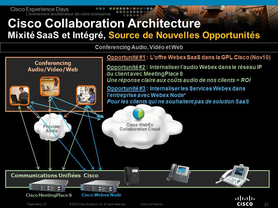 © 2009 Cisco Systems, Inc. All rights reserved.Cisco ConfidentialPresentation_ID 21 Cisco Collaboration Architecture Mixité SaaS et Intégré, Source de