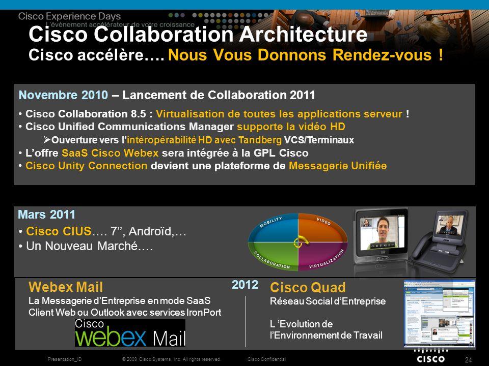 © 2009 Cisco Systems, Inc. All rights reserved.Cisco ConfidentialPresentation_ID 24 Cisco Collaboration Architecture Cisco accélère…. Nous Vous Donnon