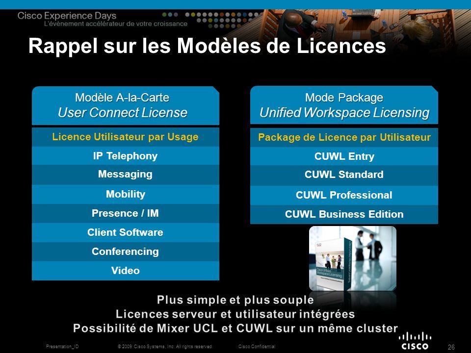 © 2009 Cisco Systems, Inc. All rights reserved.Cisco ConfidentialPresentation_ID 26 Rappel sur les Modèles de Licences Licence Utilisateur par Usage I