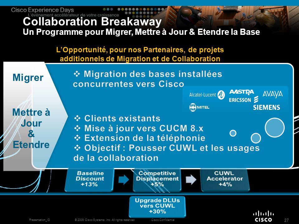 © 2009 Cisco Systems, Inc. All rights reserved.Cisco ConfidentialPresentation_ID 27 Migrer Mettre à Jour & Etendre Collaboration Breakaway Un Programm