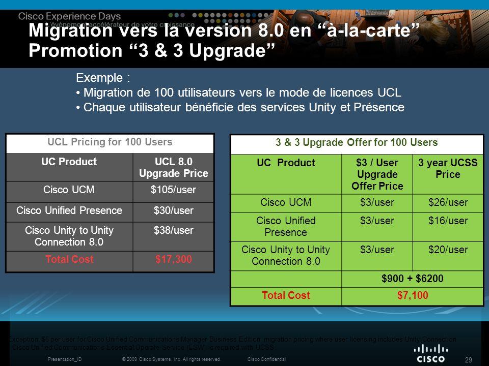 © 2009 Cisco Systems, Inc. All rights reserved.Cisco ConfidentialPresentation_ID 29 Migration vers la version 8.0 en à-la-carte Promotion 3 & 3 Upgrad