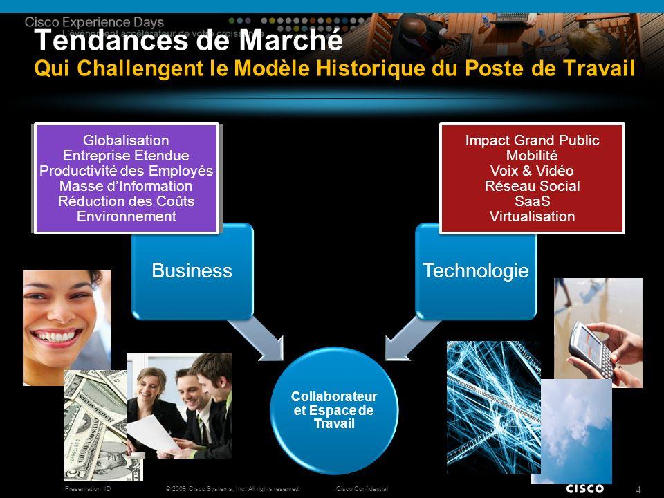 © 2009 Cisco Systems, Inc. All rights reserved.Cisco ConfidentialPresentation_ID 4 Tendances de Marché Qui Challengent le Modèle Historique du Poste d