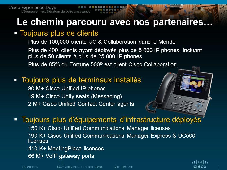 © 2009 Cisco Systems, Inc. All rights reserved.Cisco ConfidentialPresentation_ID 8 Le chemin parcouru avec nos partenaires… Toujours plus de clients T