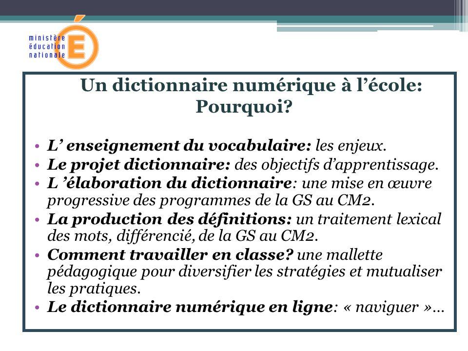 Un dictionnaire numérique à lécole: Pourquoi? L enseignement du vocabulaire: les enjeux. Le projet dictionnaire: des objectifs dapprentissage. L élabo