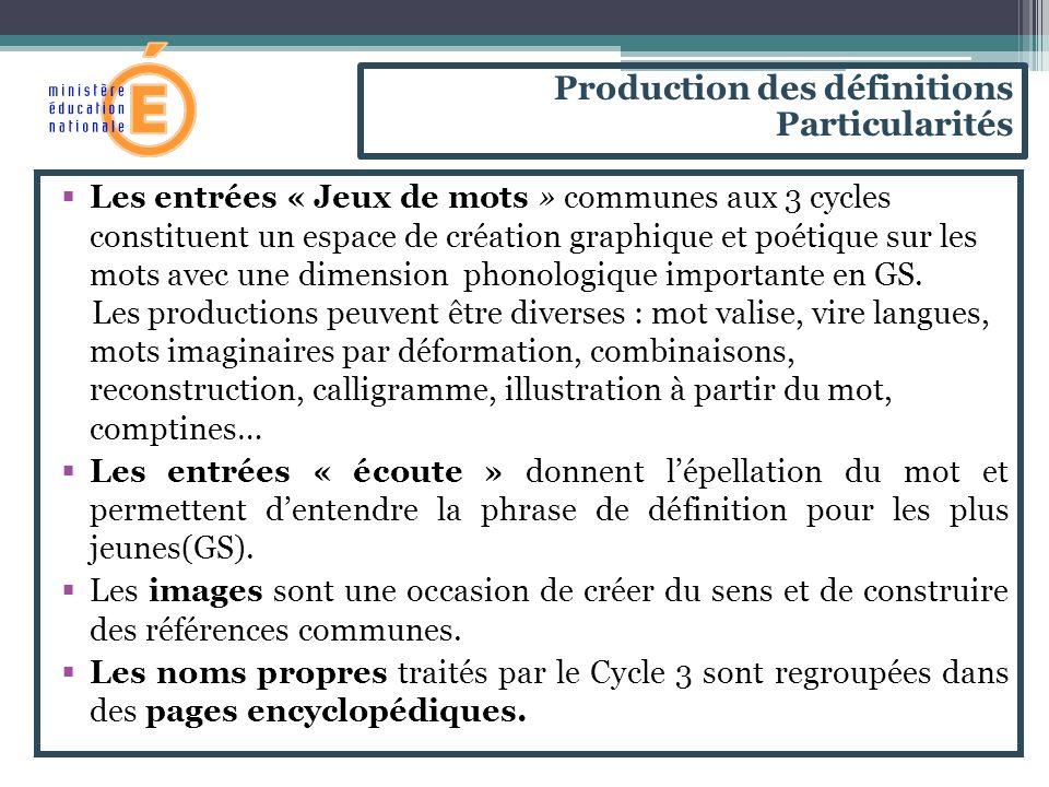 Les entrées « Jeux de mots » communes aux 3 cycles constituent un espace de création graphique et poétique sur les mots avec une dimension phonologiqu