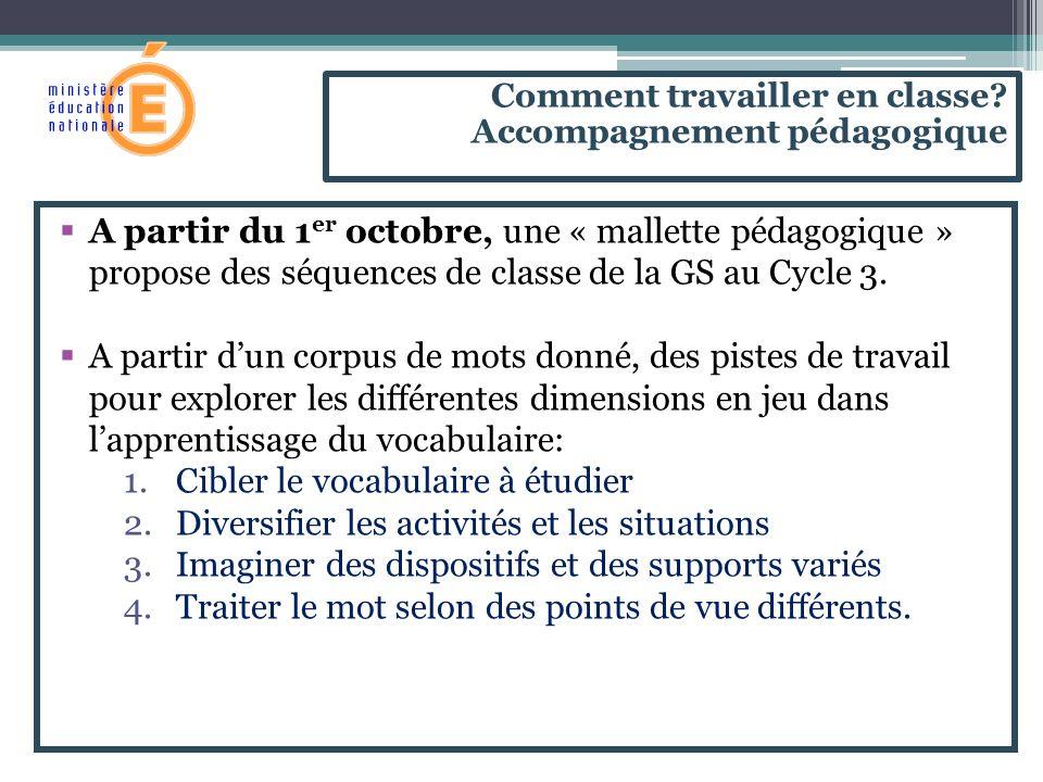 A partir du 1 er octobre, une « mallette pédagogique » propose des séquences de classe de la GS au Cycle 3. A partir dun corpus de mots donné, des pis