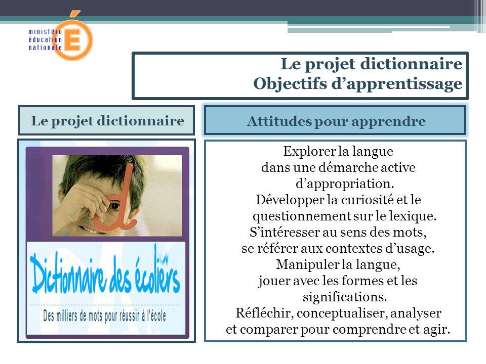 Le projet dictionnaire Attitudes pour apprendre Explorer la langue dans une démarche active dappropriation. Développer la curiosité et le questionneme