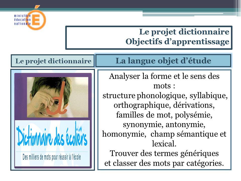 Le projet dictionnaire La langue objet détude Analyser la forme et le sens des mots : structure phonologique, syllabique, orthographique, dérivations,