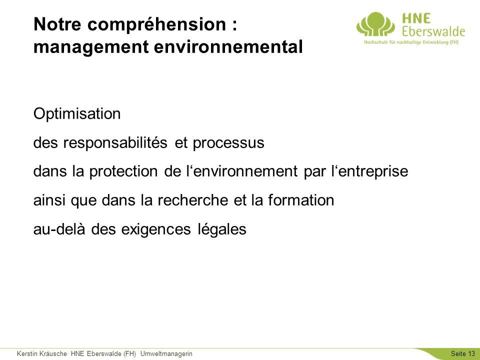 Kerstin Kräusche· HNE Eberswalde (FH) UmweltmanagerinSeite 13 Optimisation des responsabilités et processus dans la protection de lenvironnement par l
