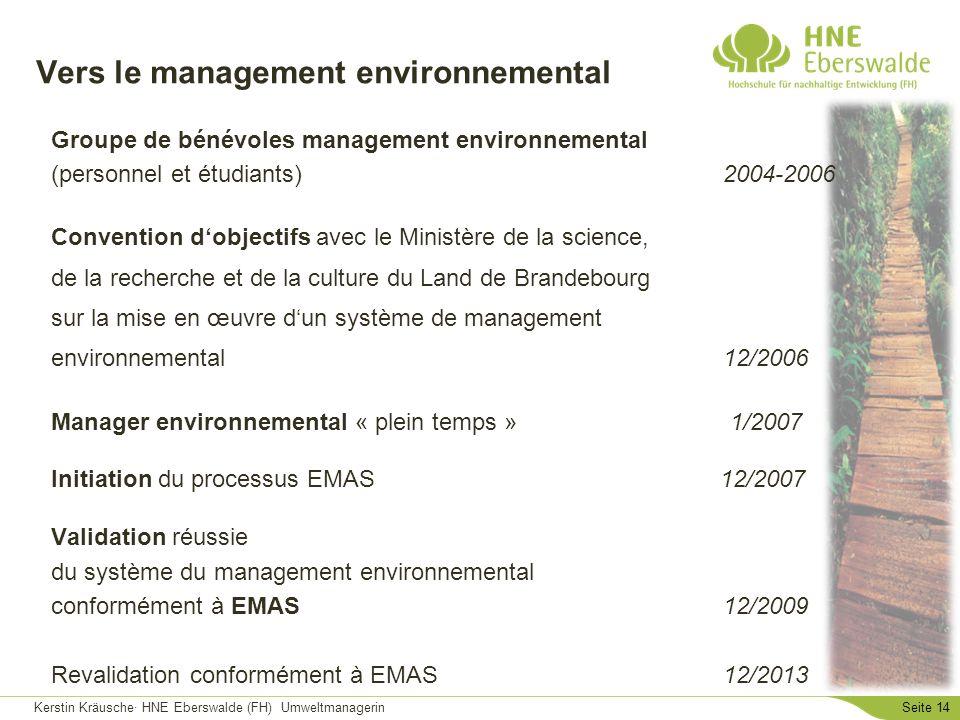 Kerstin Kräusche· HNE Eberswalde (FH) UmweltmanagerinSeite 14 Vers le management environnemental Groupe de bénévoles management environnemental (perso