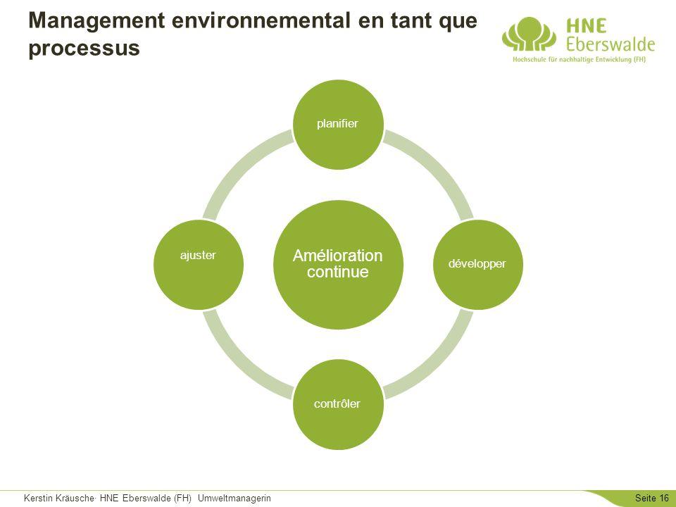 Kerstin Kräusche· HNE Eberswalde (FH) UmweltmanagerinSeite 16 Management environnemental en tant que processus Amélioration continue planifierdévelopp