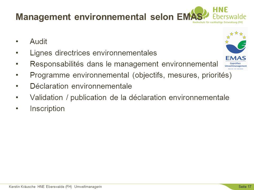 Kerstin Kräusche· HNE Eberswalde (FH) UmweltmanagerinSeite 17 Management environnemental selon EMAS Audit Lignes directrices environnementales Respons