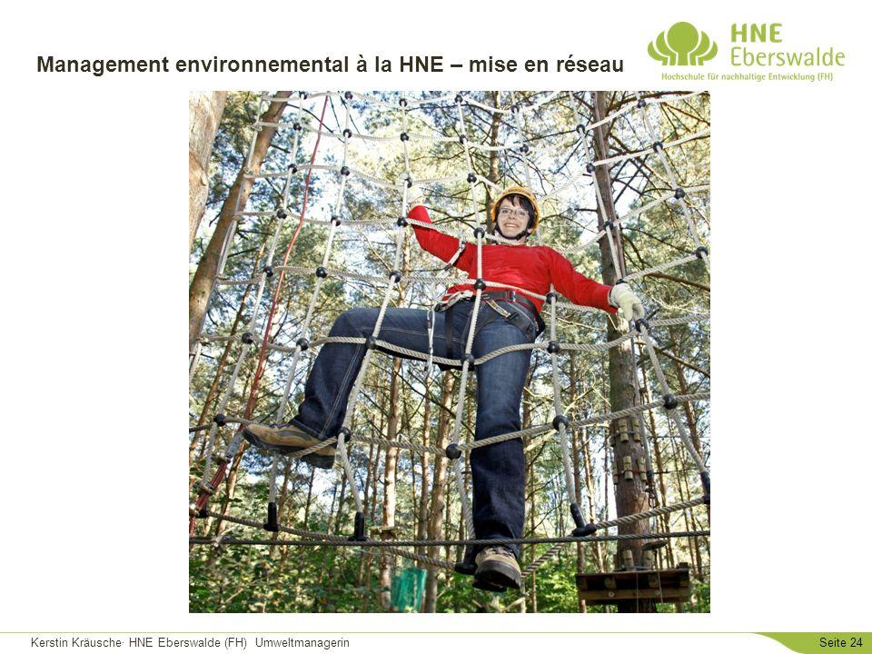 Kerstin Kräusche· HNE Eberswalde (FH) UmweltmanagerinSeite 24 Management environnemental à la HNE – mise en réseau