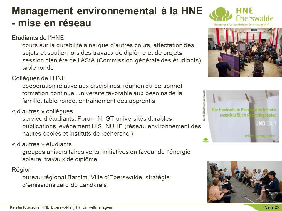 Kerstin Kräusche· HNE Eberswalde (FH) UmweltmanagerinSeite 25 Management environnemental à la HNE - mise en réseau Étudiants de lHNE cours sur la dura