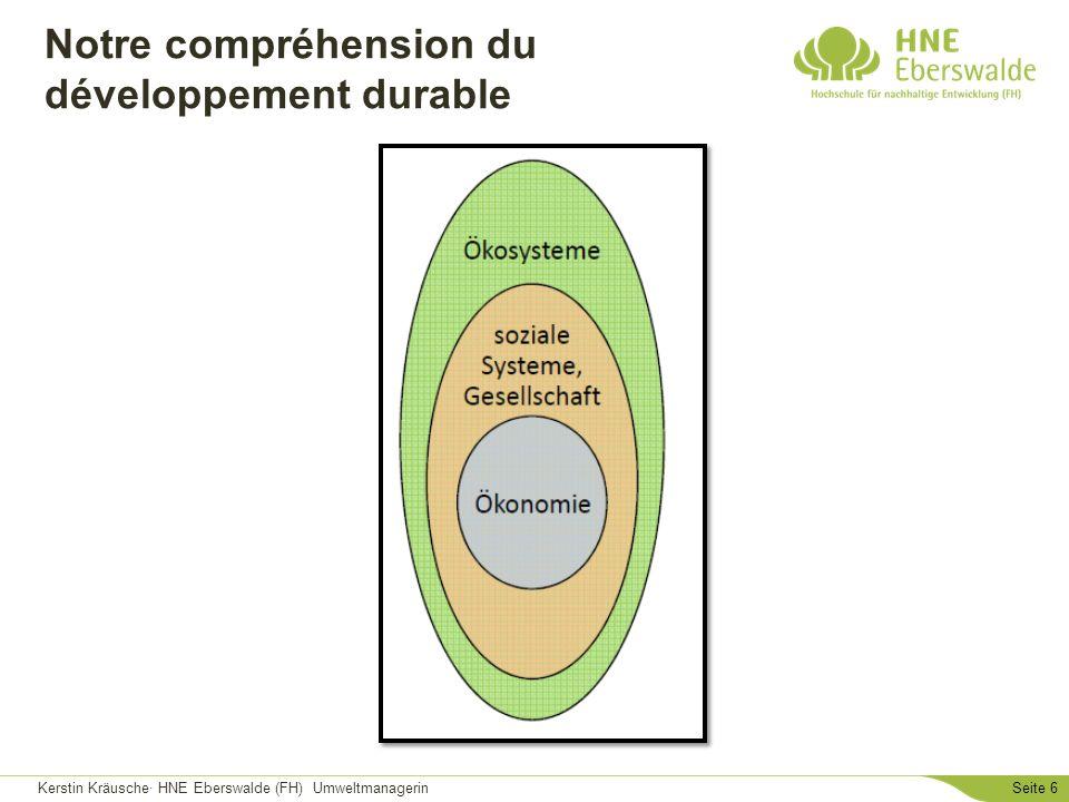Kerstin Kräusche· HNE Eberswalde (FH) UmweltmanagerinSeite 6 Notre compréhension du développement durable