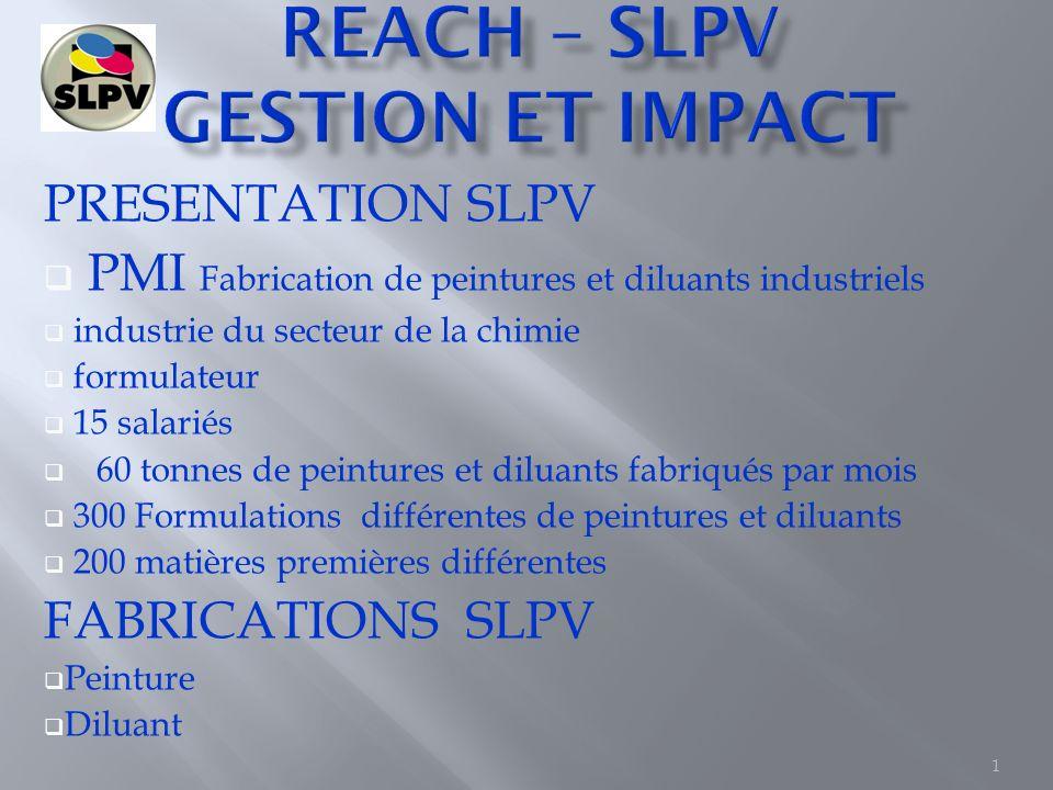 1 PRESENTATION SLPV PMI Fabrication de peintures et diluants industriels industrie du secteur de la chimie formulateur 15 salariés 60 tonnes de peintu