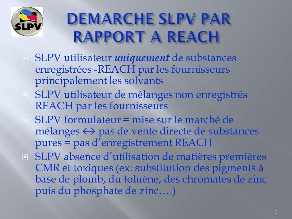 SLPV en R&D utilise uniquement de Matières premières qui respectent REACH SLPV demande régulièrement des FDS réactualisées aux fournisseurs SLPV élabore ses FDS et met à jour régulièrement les FDS par rapport à la réglementation REACH SLPV participe à des stages pour se tenir au courant des dernières mises à jour de la réglementation REACH (ex: les FDS format CLP, les scénarios dexposition, létiquetage…) 6