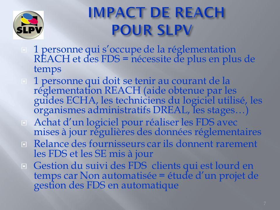 Le respect à 100% de la réglementation REACH est malgré tout difficile à suivre pour SLPV Notre choix est de travailler avec les substances les moins dangereuses et dès que cest possible, techniquement et/ou économiquement deffectuer des substitutions.