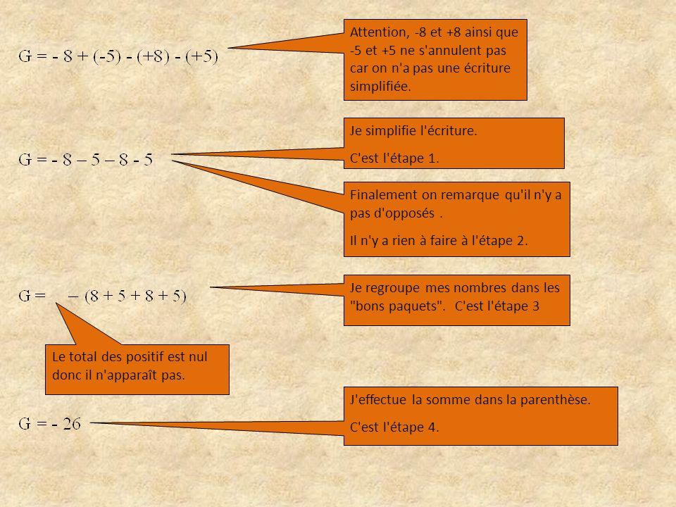 Attention, -8 et +8 ainsi que -5 et +5 ne s annulent pas car on n a pas une écriture simplifiée.