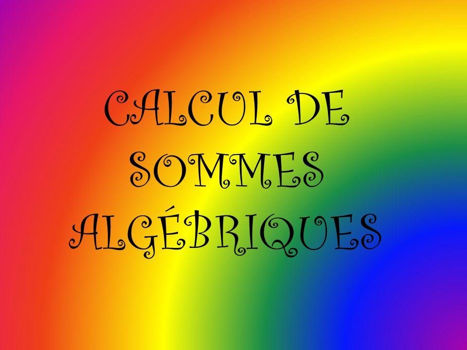 CALCUL DE SOMMES ALGÉBRIQUES