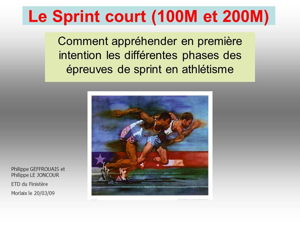Le Sprint court (100M et 200M) Comment appréhender en première intention les différentes phases des épreuves de sprint en athlétisme Philippe GEFFROUA