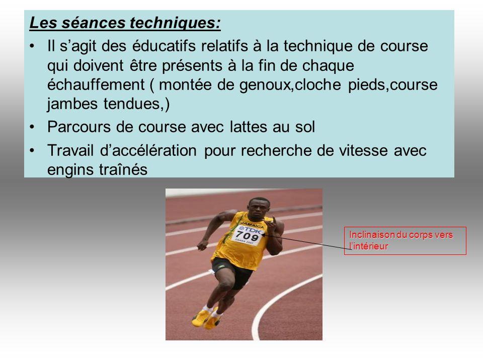 Les séances techniques: Il sagit des éducatifs relatifs à la technique de course qui doivent être présents à la fin de chaque échauffement ( montée de