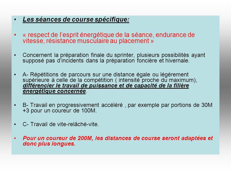 Les séances de course spécifique: « respect de lesprit énergétique de la séance, endurance de vitesse, résistance musculaire au placement » Concernent